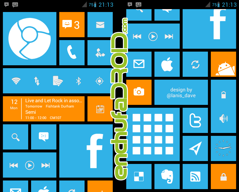 Pantalla de inicio de Windows Phone 8 en Android